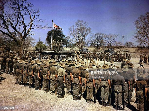 World War Two Asia 20th March The Union Jack flag is raised in Fort Dufferin Mandalay Burma after its capture by the 19th Indian Division