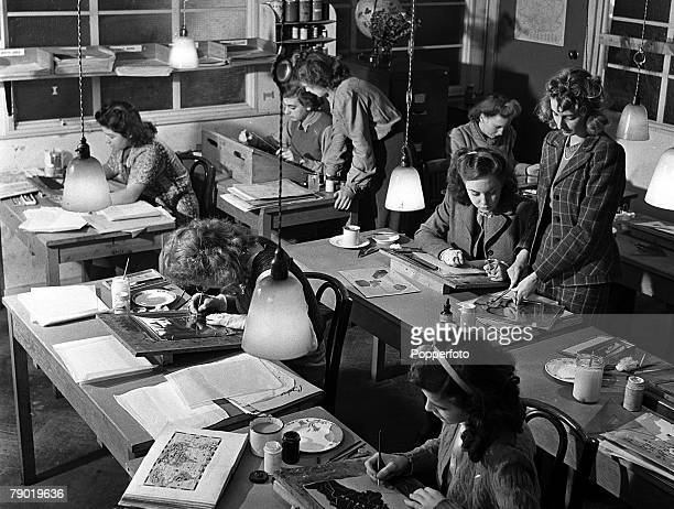 World War Two Britain British cartoon Studios at Merton Park where staff create animated diagrams and cartoons for use in army training films