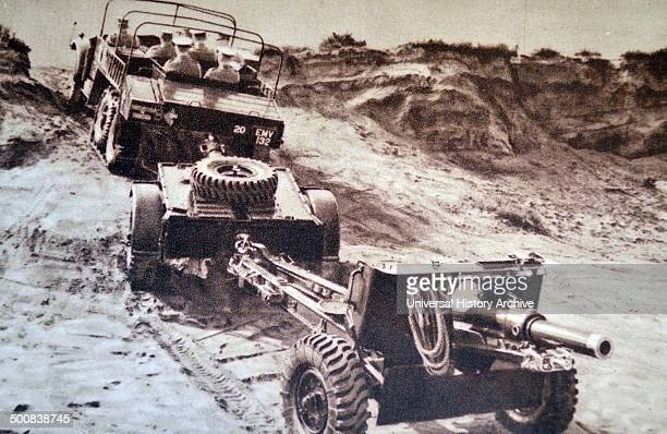 World War Two British artillery on the move during the battle of France 1940