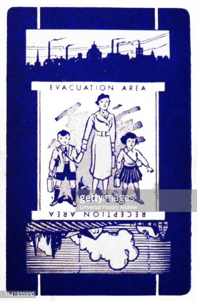 World war two, British, Evacuation, propaganda poster. 1940. The evacuation of children to the countryside by train, in Britain during the Second...