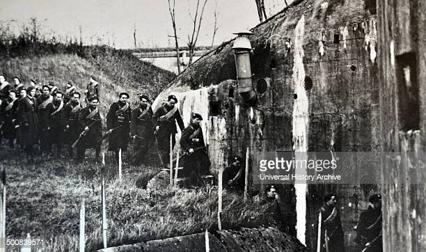 World War Two British Scottish soldiers enter a bunker within the Maginot Line France 1940