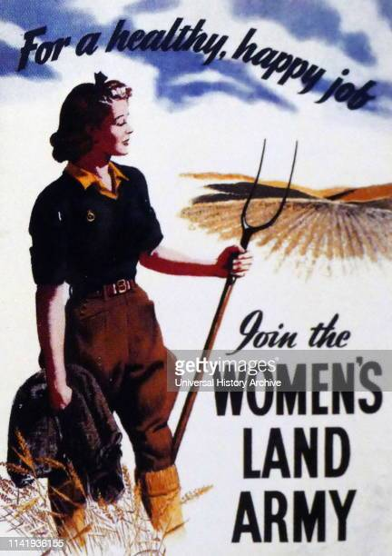 World war two British Women's Land Army propaganda poster 1940