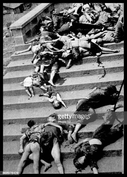 Casualties of a mass panic during a Japanese air raid000 people were trampled or suffocated to death trying to return to shelters Chungking China...