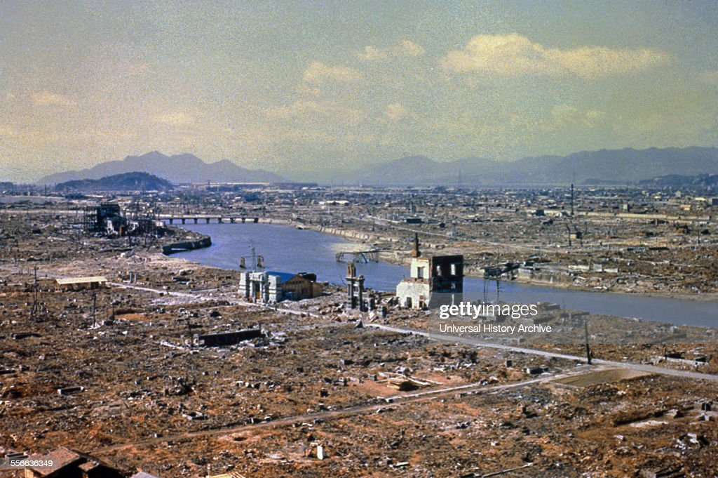 World War Two destruction after the atomic bomb was dropped on Hiroshima, 1945. : News Photo