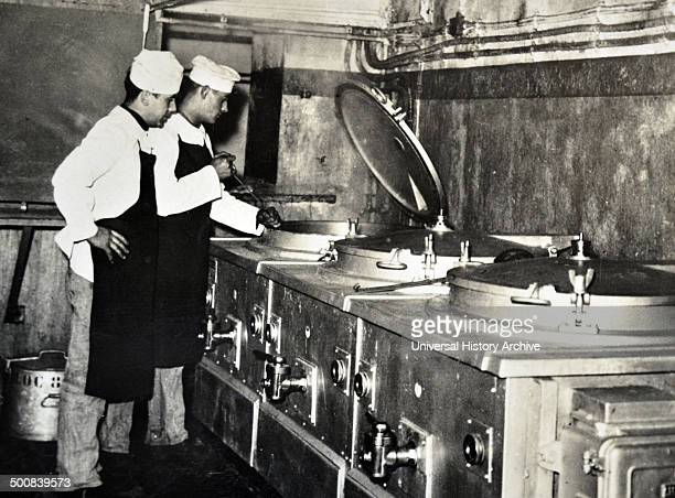World War Two French military cooks prepare a meal in a kitchen within the Maginot Line France 1940
