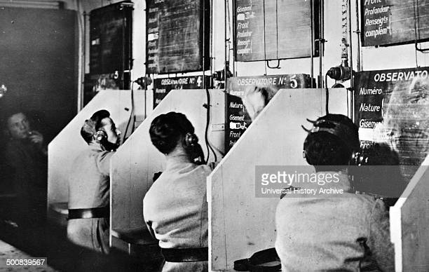 World War Two French soldiers at a communications centre inside a tunnel deep inside the fortifications within the Maginot Line France 1940