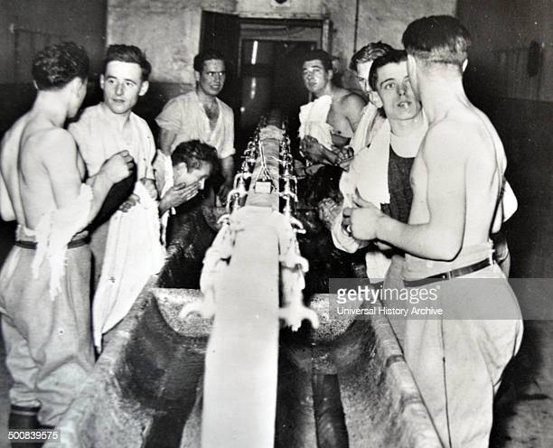 World War Two French soldiers use the washing facilities inside the Maginot Line France 1940