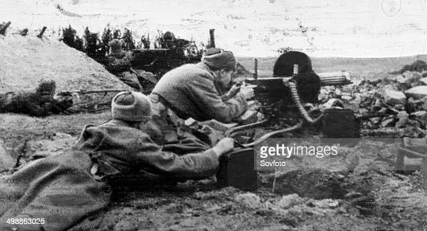 World War Two. Maxim machine gun during Winter warfare .