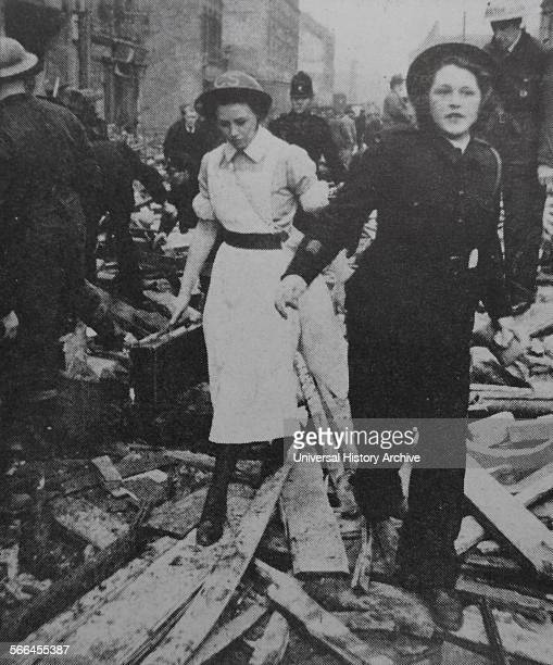 World war two nurse and air raid warden in London after a bombing raid during the blitz 1942