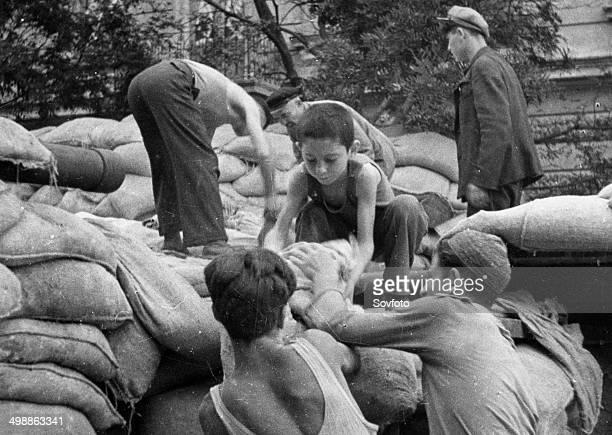 World War Two October 1941 Defense of Odessa Children helping erect barricades