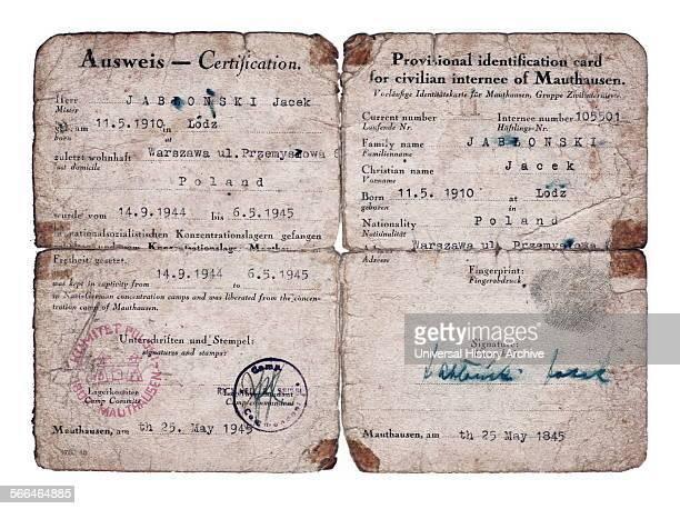 World War Two Postliberation identification paper for a former Mauthausen Concentration Camp prisoner called Jacek Jablonski 1945