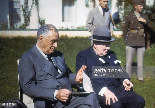 World war two President Franklin D Roosevelt and Prime Minister Churchill at the Casablanca Conference in Morocco 1943
