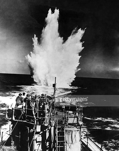 World War Two Royal Navy destroyer drops depth charges on a German U-boat. April 1942 P011668