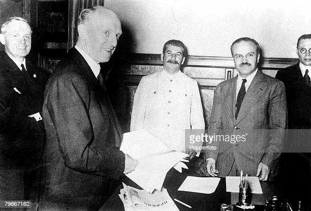 World War Two Russia 27 August 1939 The picture shows the meeting of Russian and German dignitaries for the signing of the Non Aggression Treaty...