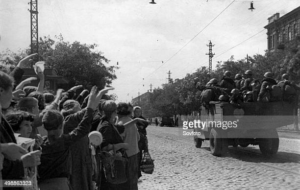 World War Two September 1941 Residents of Odessa greeting Red Army men going to the Front