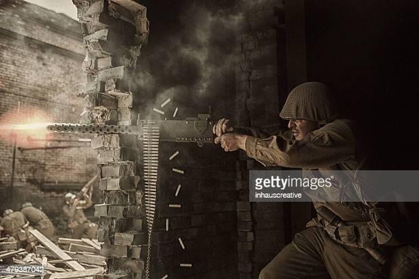 World War Two Soldier shooting Browning M1919 machine gun