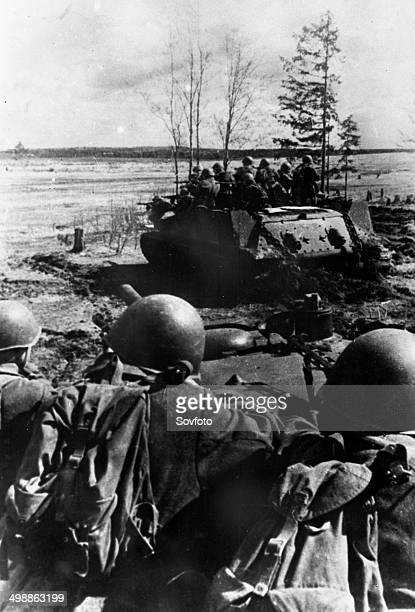 World War Two Soviet infantry attop T34 tanks landing near Gzhatsk