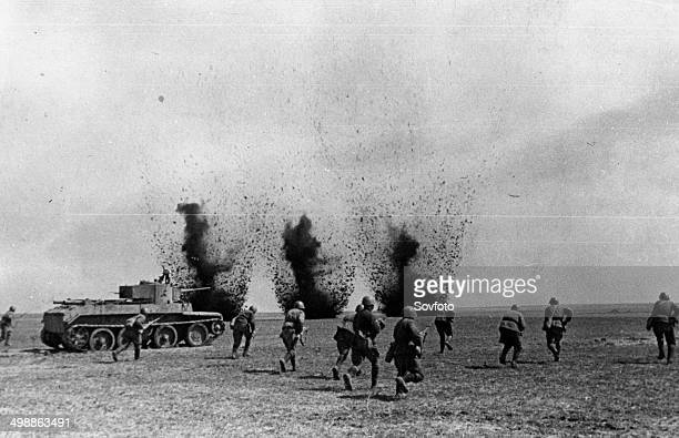 World War Two Soviet infantry supported by tanks advancing