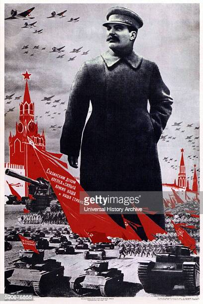 World war two soviet Russian patriotic poster depicting Stalin as the leader of the military