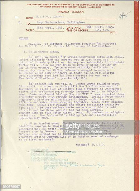 World war two telegram from the New Zealand military representative in London to Army HQ in Wellington NZ concerning New Zealand prisoners of war in...