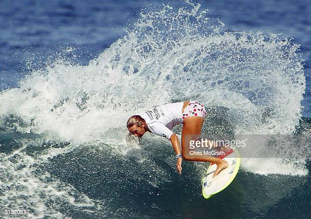 World Women's Champion Lane Beachley of Australia in action during her heat which included World Men's Champion Andy Irons of Hawaii on day three of...