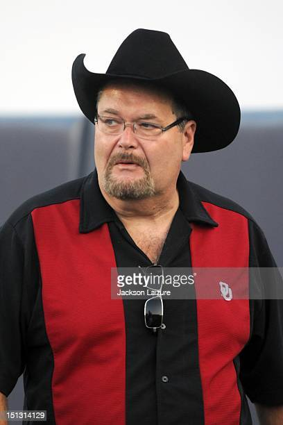 World Wrestling Entertainment announcer and Oklahoma Sooners fan Jim Ross walks the field before the Sooners' game against the UTEP Miners on...