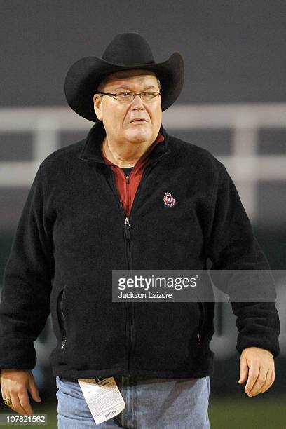 World Wrestling Entertainment Hall of Famer and Oklahoma Soooners fan Jim Ross watches the Sooner victory over the Baylor Bears on November 20 2010...