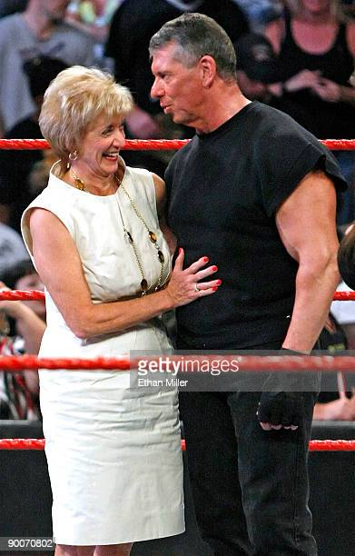 World Wrestling Entertainment Inc. CEO Linda McMahon and her husband, WWE Chairman Vince McMahon, appear in the ring during Vince McMahon's 64th...