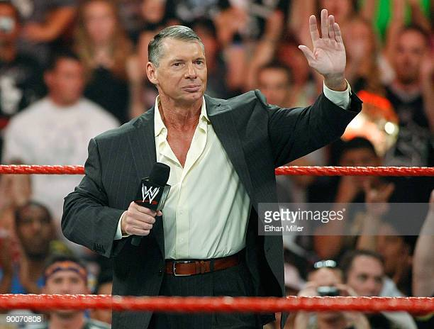 World Wrestling Entertainment Inc. Chairman Vince McMahon appears in the ring during the WWE Monday Night Raw show at the Thomas & Mack Center August...