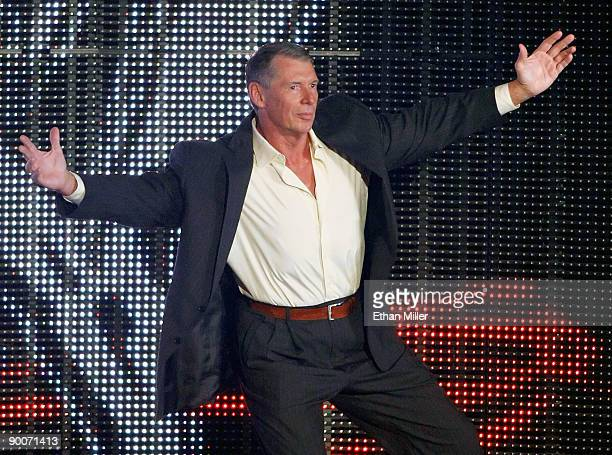 World Wrestling Entertainment Inc. Chairman Vince McMahon is introduced during the WWE Monday Night Raw show at the Thomas & Mack Center August 24,...