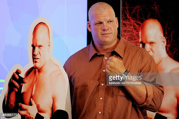 World Wrestling Entertainment wrestler Kane poses during a promotional event in New Delhi on June 10 2009 WWE's business focus is on professional...