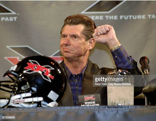World Wrestling Federation chairman Vince McMahon speaks to the media to announce the creation of the XFL a new professional football league