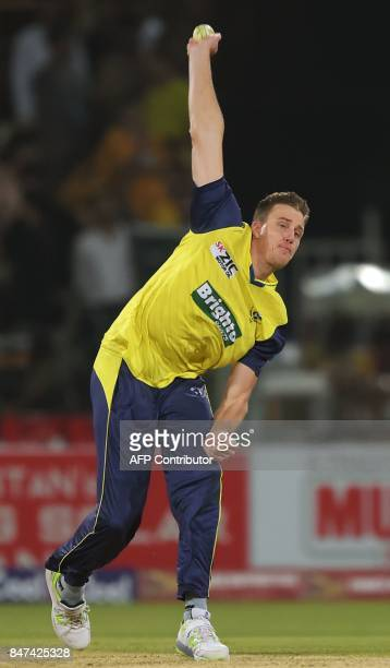 World XI bowler Morne Morkel delivers the ball during the third and final Twenty20 International match between the World XI and Pakistan at the...