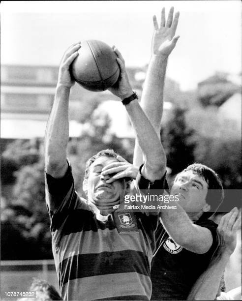 World XV Rugby Union team training at Weigall Oval NZ Andy Haden getting everything but assistance from Randiwcks Ray Evans in linkout practice If...