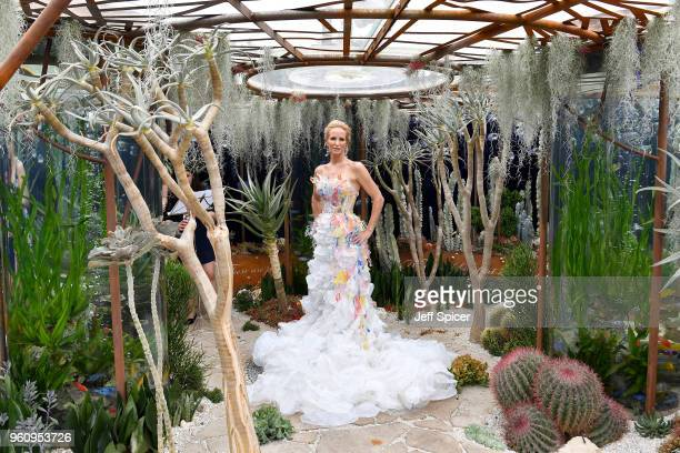 WorldChampion Freediver Tanya Streeter poses at The Pearlfisher Garden while wearing a dress designed by BA Fashion and Textiles students from The...