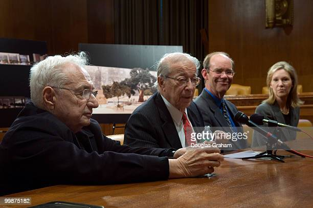 Worldrenowned architect Frank O Gehry Chairman of the Dwight D Eisenhower Memorial Commission Rocco Siciliano David and Anne Eisenhower the grand...