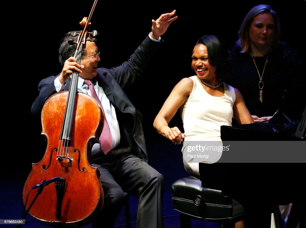 World-renowned cellist Yo-Yo Ma (L) and former U.S. Secretary of State Condoleezza Rice give a surprise performance of Robert Schumann's Fantasiestucke, Op. 73 at the 2017 Kennedy Center Arts Summit at John F. Kennedy Center for the Performing Arts on May 6, 2017 in Washington, DC.