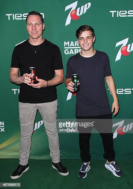 Worldrenowned DJs Tiesto and Martin Garrix attend this year's kickoff event for 7UP's program in advance of Ultra Music Festival at the Wall Lounge...