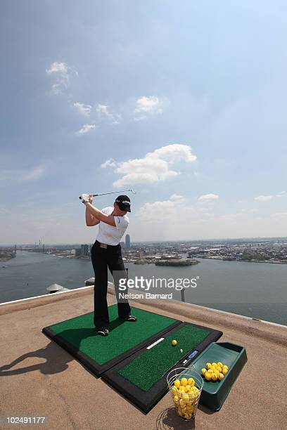 Worldrenowned female golfer Annika Sorenstam attempts the ultimate golf challenge to benefit the Intrepid Fallen Heroes Fund at 30 Waterside Plaza on...