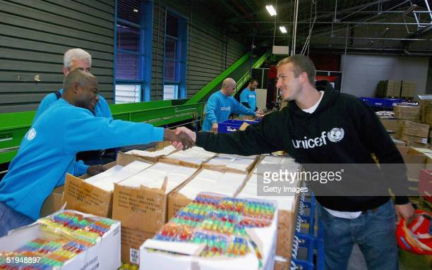 Worldrenowned footballer and newlyappointed UNICEF Goodwill Ambassador David Beckham during a visit on January 10 2005 to UNICEFs central supply...