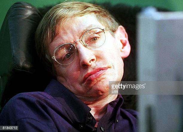 Worldrenowned physicist Stephen Hawking answers questions with the help of a voice synthesiser during a press conference at the Tata Institute of...