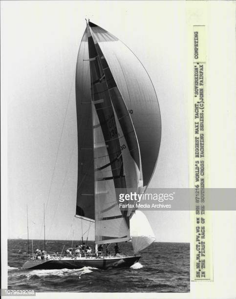 World's biggest Maxi Yacht, 'Sovereign', competing in the first race of the Southern Cross Yachting Series. December 16, 1987. .