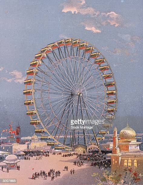 World's Columbian Exposition Chicago Illinois A view west on the crowded Midway Plaisance to the world's first Ferris Wheel in the distance At left...