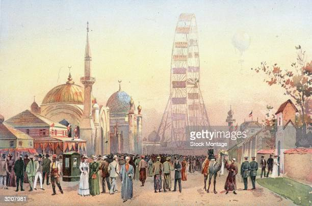 World's Columbian Exposition Chicago Illinois The center of the Midway Plaisance at dusk The world's first Ferris Wheel built for the Exposition by...