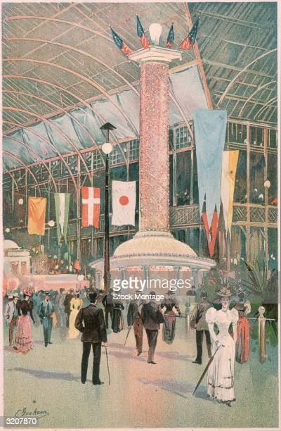 World's Columbian Exposition Chicago Illinois Visitors inside the Light which displayed over 18000 electric lightbulbs The building housed other...