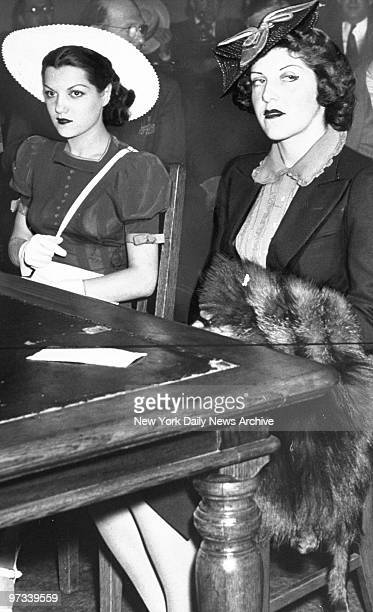 Worlds Fair showgirls Dolores Irwin and Marge Berquist in the Flushing Queens magistrates court after being arrested for participating in a nude...
