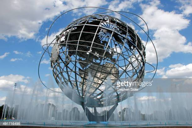 Worlds Fair Unisphere Flushing Meadows Corona Park Globe Water Fountains Symbol Of Queens 50 Year Old Anniversary Theme Symbol of the 1964/1965 New...