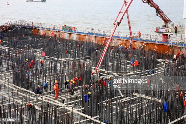 World's largest bridge Shanghai Yangtze river bridge open caisson foundation start pouring of concrete on 08th November 2017 in Shanghai China