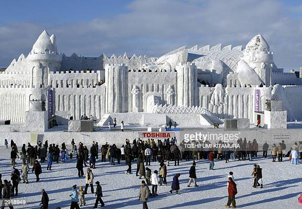 World's largest snow sculpture Dragon Castle built by Ground SelfDefense Forces second division in Asahikakwa is displayed at the Asahikawa Winter...