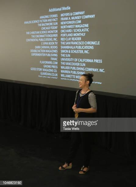 'Worlds of Ursula K Le Guin' director Arwen Curry speaks onstage at the 2018 Santa Cruz Film Festival on October 6 2018 in Santa Cruz California